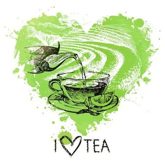 スプラッシュ水彩ハートとスケッチとお茶の背景。手描きイラスト。メニューデザイン