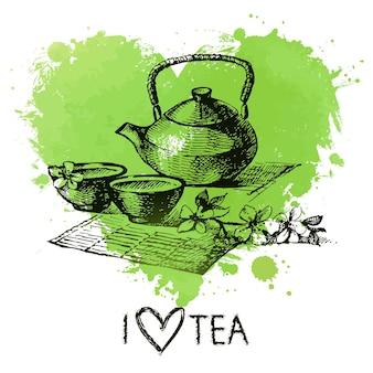 Tea background with splash watercolor heart and sketch . hand drawn illustration. menu design