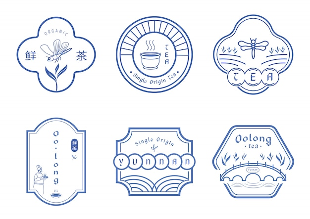 Tea badge design with chinese blue pattern style
