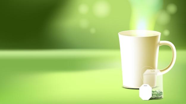 ホットドリンクコピースペースベクトルとティーバッグとカップ。スチームで醸造されたおいしい飲み物のブランクマグカップとお茶の乾燥した葉の小袋。古典的な天然ハーブ植物液体テンプレートリアルな3dイラスト
