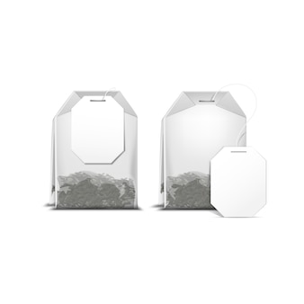 Tea bag teabag with white label isolated