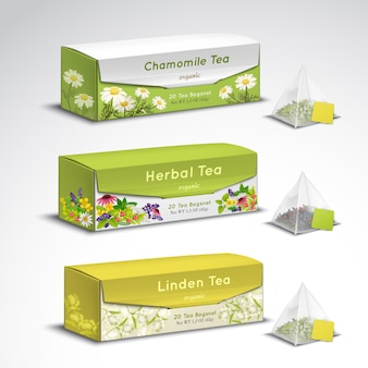 Tea bags packaging realistic set