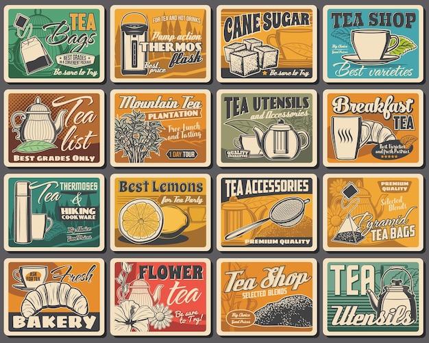 차 혼합, 기구, 베이커리 가게 복고풍 포스터 세트. 진공 플라스크, 지팡이 설탕, 레몬, 벡터 티백, 유리, 금속 및 도자기 찻주전자, 컵, 찻잎, 꽃, 크루아상, 하이킹 조리기구