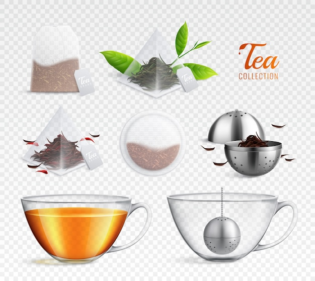 Tea brewing bag realistic icon set with different elements