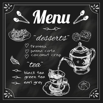 Tea cafe blackboard menu for black herbs blend teapot with dessert chalk sketch vector illustration