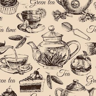 Tea and cake seamless pattern. hand drawn sketch illustration. menu design