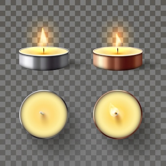 Tea candle. romantic candles in metal flame, relaxing wax candle fire and spa aromatherapy candlelight isolated 3d vector set