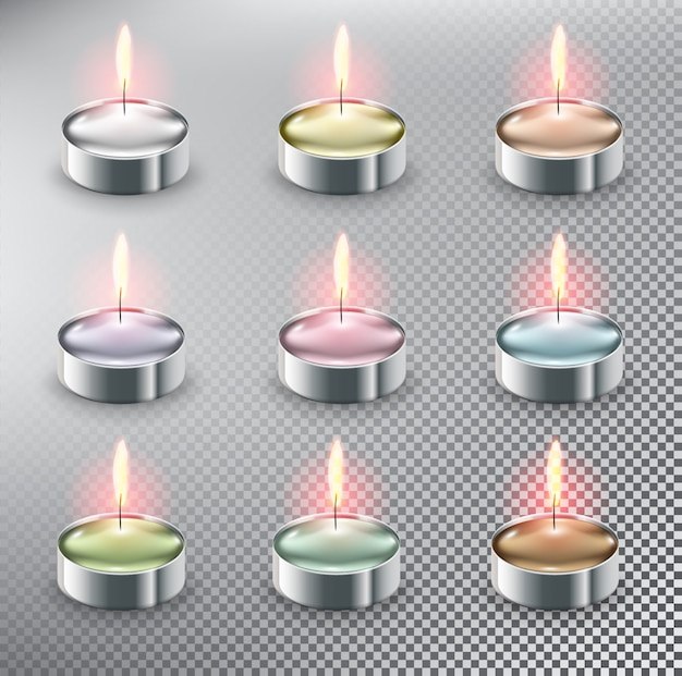 Tea candles. aromatic tealight candles. isolated on the white background.