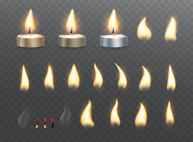 Tea candles and fire flame effects. set of burning light effects on transparent