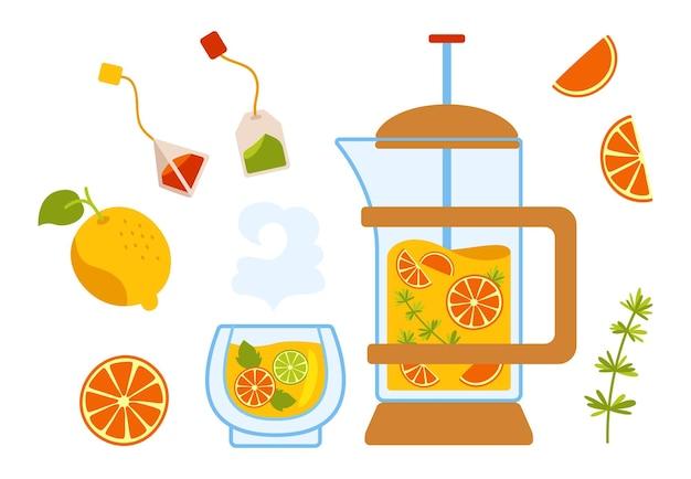 Tea cartoon cozy set lemon teapot bag and cup. kettle citrus tea in transparent teapot with ingredients