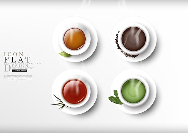 Чайная мультяшная плоская тема десертная коллекция