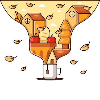 秋の背景とお茶の漫画のベクトルイラスト。秋のアイコンの概念