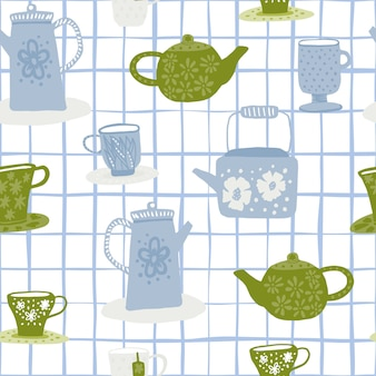 Tea ceremony doodle seamless pattern. white background with check. green and blue cups and teapots.
