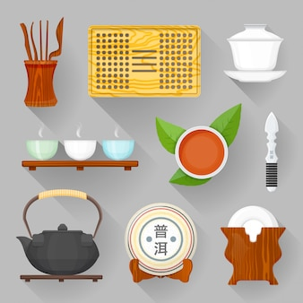 Tea ceremony equipment illustration set