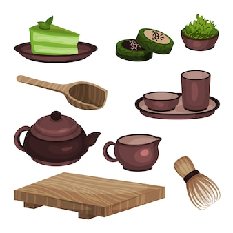 Tea ceremony equipment set, tea time symbols and accessories cartoon  illustrations