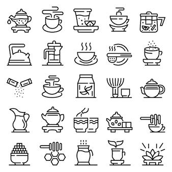 Tea ceremony icons set