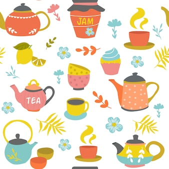 Tea ceremony seamless pattern