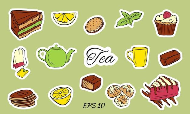 白い背景で隔離のアイコンと茶道。ティーアクセサリーのセット:カップ、ティーポット、ティーバッグ、ティーツール、フラットスタイルのガラス。お茶の時間ベクトル記号。