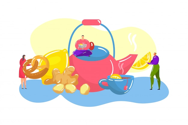 Tea ceremony with japanese huge teapot, tea-cup of hot drink, lemon, ginger and tiny people flat illustration.