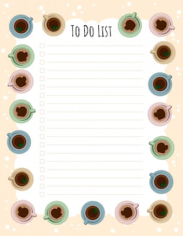 Tea and coffee cups weekly planner and to do list.