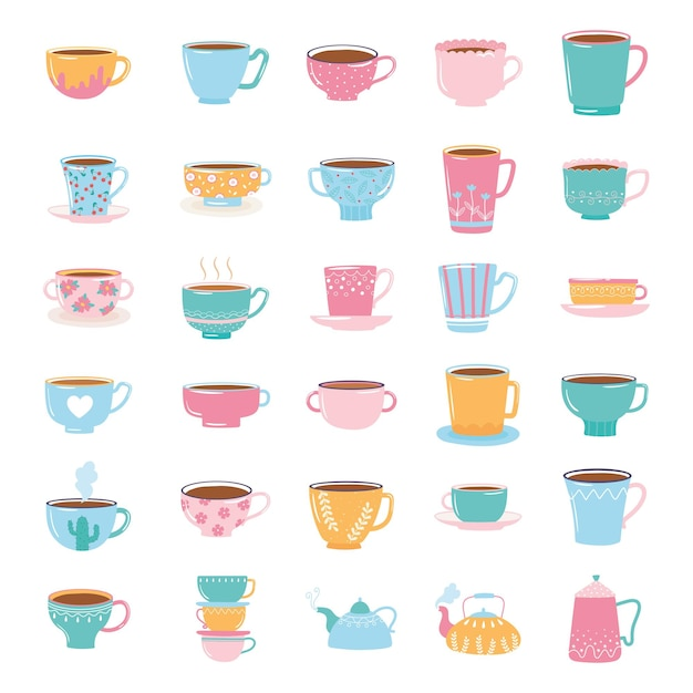Tea and coffee cute trendy crockery with decoration, kettles and cups for beverage  illustration