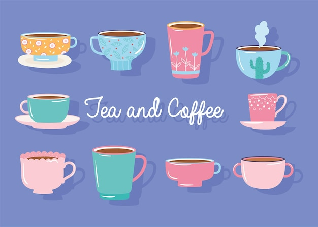 Tea and coffee different cups decorated collection  illustration
