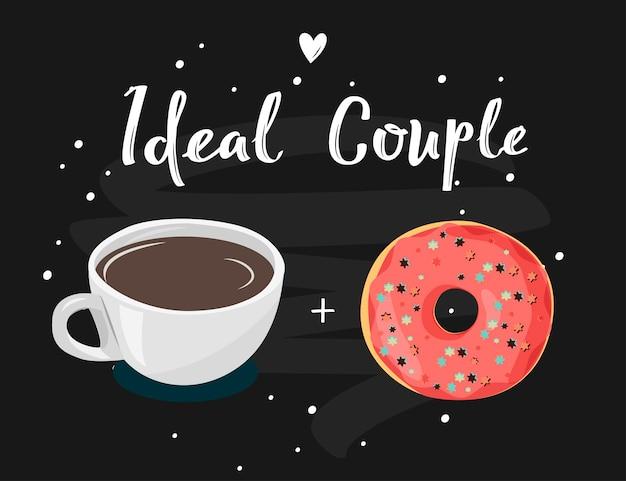 Tea coffee and donat