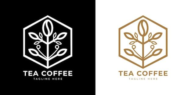 Tea coffee line flat logo