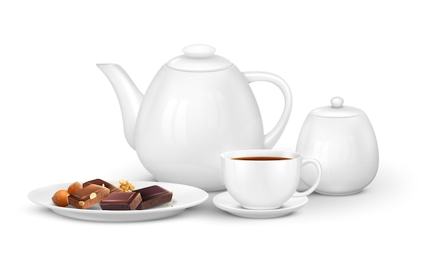 Tea coffee realistic composition with front view of set with teapot cups and chocolate on plate