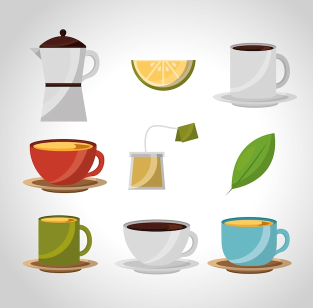 Tea and coffee time cups beverage lemon herbal collection