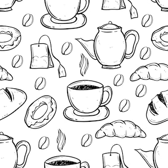 Tea and coffee time using doodle art in seamless pattern