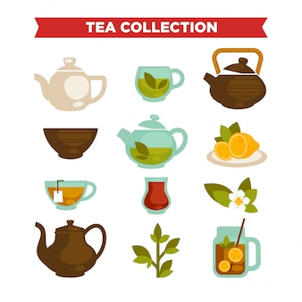 Tea collection of vector cups