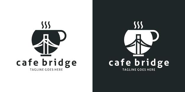 ティーカップとブリッジのデザインロゴ