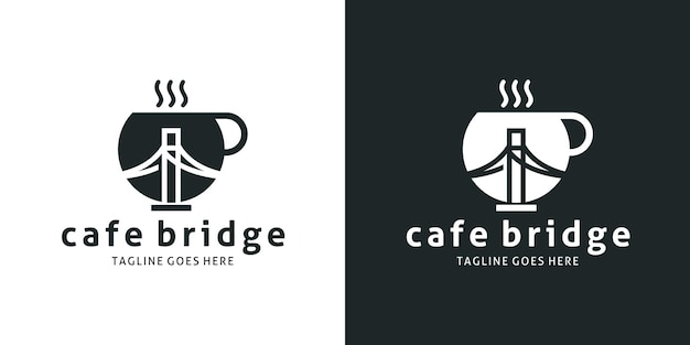 Tea cup and bridge design logo