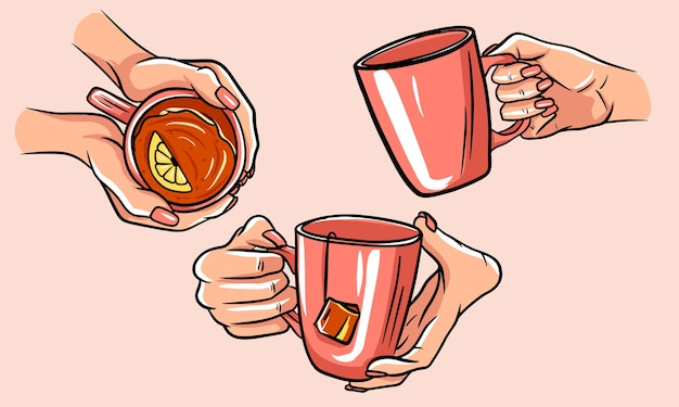 Tea cup illustration. set of cups of tea with hands. isolated pictures.