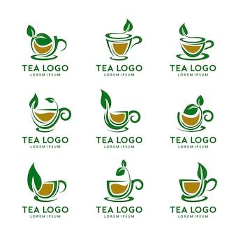 Tea cup logo design set