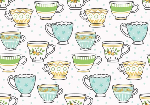 Tea cup seamless pattern