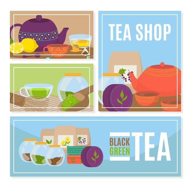Tea cup at shop banner, illustration. graphic mug with drink, vintage cafe poster set.