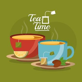 Tea cup slice lemon and teabag seeds on dish