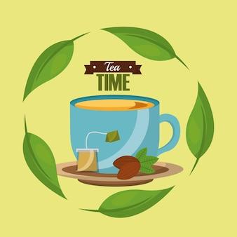 Tea cup tea bag seed and herbal leaves tea time