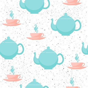 Tea cup and teapot seamless background. grey, blue and pink cup and teapot. abstract seamless pattern for card, book, diary cover, t-shirt, album, textile fabric, garment etc. naure and animal theme.