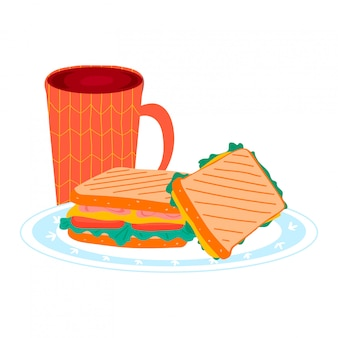 Tea cup with morning breakfast sandwich foodstuff on kitchen plate, bread burger ham and cheese luncheon isolated on white, cartoon illustration.