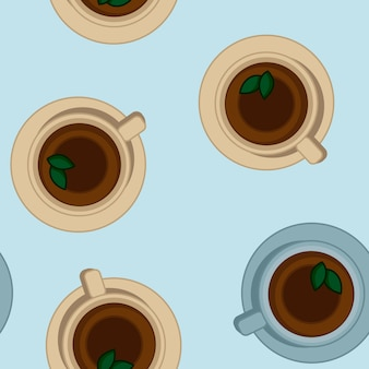 Tea cups seamless vector pattern. top view illustration.