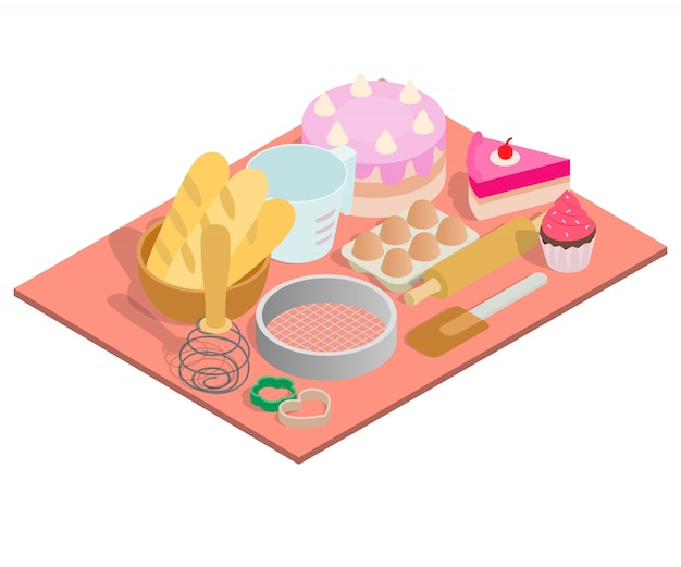 Tea day concept banner, isometric style