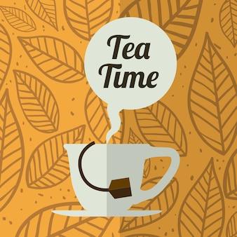 Tea design over cupbubbletimebagcupdish background vector illustration