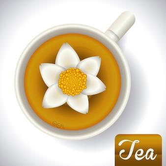 Дизайн чая на сером фоне векторных иллюстраций
