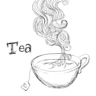 Дизайн чая на белом фоне векторные иллюстрации
