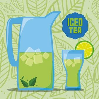 Tea design over pattern background vector illustration