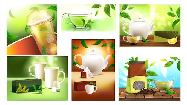 Tea drink promo advertising banners set vector. tea cup and mug, package and teapot, nature leaves and bag different posters. organic herbal beverage concept template realistic 3d illustrations