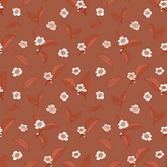 Tea flowers and leaves dark brown seamless pattern